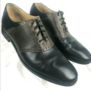 COLE HAAN GRAND OS Black/Brown Leather Oxford Shoe